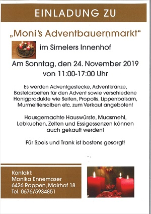Monis Adventbauernmarkt in Roppen